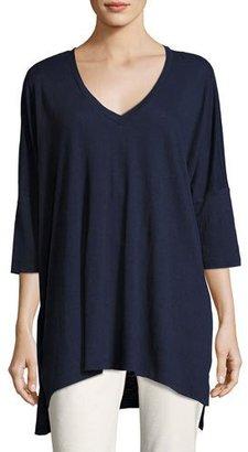 Eileen Fisher Dolman-Sleeve Boxy Organic Linen Tunic, Plus Size $198 thestylecure.com
