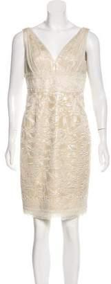 Carmen Marc Valvo Embellished Brocade Dress