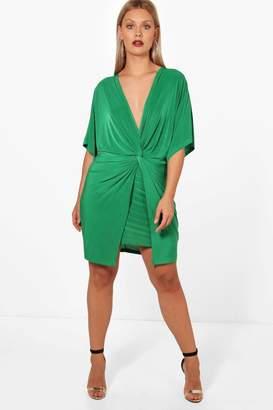 boohoo Plus Donna Knot Kimono Sleeve Bodycon Dress