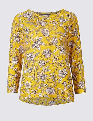 Marks and Spencer Floral Print Raglan 3/4 Sleeve T-Shirt