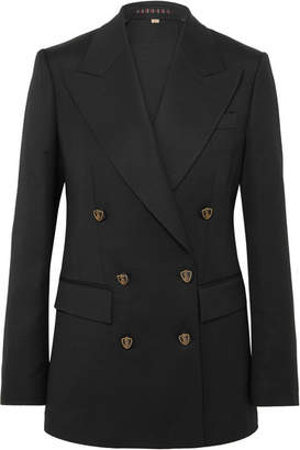 Burberry Wool And Silk-blend Double-breasted Blazer - Black