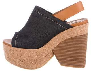 See by Chloe Denim & Cork Platform Wedges