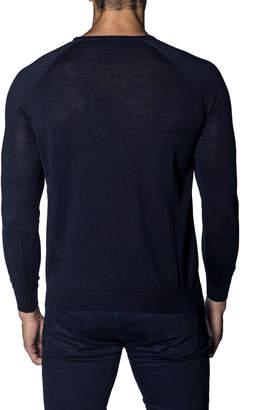 Jared Lang Men's Long-Sleeve Wool-Blend Sweater, Navy