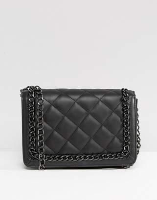 Asos Design Diamond Quilt Cross Body Bag With Chunky Chain Handle