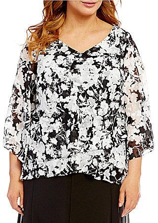 Alex EveningsAlex Evenings Plus 3/4-Sleeve Printed Tiered Blouse