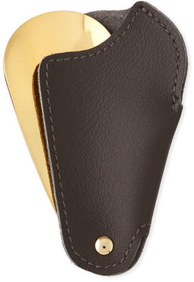 Utile 4 Golden Travel Shoe Horn with Leather Case, Dark Brown
