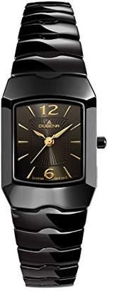 Dugena Women's Keramik Quartz Watch with Brown Dial Analogue Display and Black Ceramic Bracelet