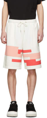 Feng Chen Wang White and Pink Distorted Stripe Shorts