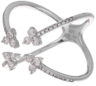 Ef Collection 14K White Gold Inverted 4 Trio Diamond Ring - Size 7 - 0.12 ctw