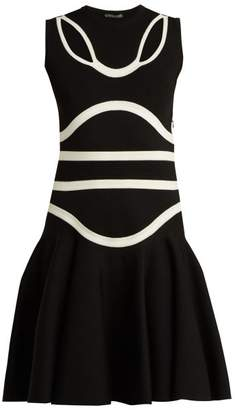 Alexander McQueen Panelled Knitted Midi Dress - Womens - Black White