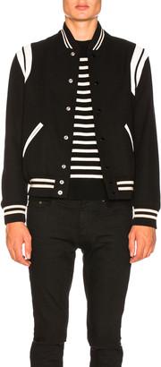 Saint Laurent Teddy Bomber Jacket in Black & White | FWRD