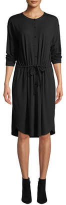 Eileen Fisher Long-Sleeve Button-Front Drawstring Jersey Dress