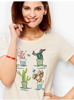Talbots Embellished Flowering Cactus Tee