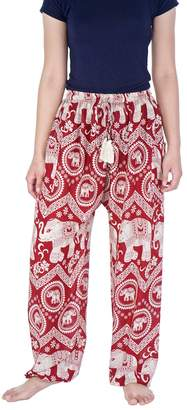 Lannaclothesdesign Drawstring Yoga Pilates Harem Pants Elephant Print (S, )