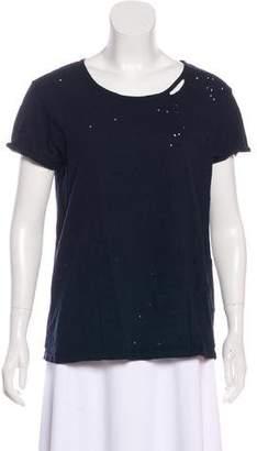 RtA Denim Short Sleeve Distressed Top