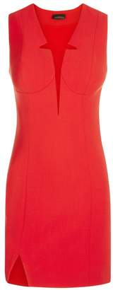 La Perla Desk To Dinner Red Short Virgin Wool Sheath Dress With Built-In Bra