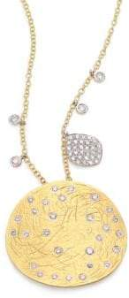 Meira T Diamond, 14K Yellow& White Gold Disc Pendant Necklace