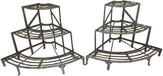 One Kings Lane Vintage French Wrought Iron Plant Stands - Set of 2 - Schorr & Dobinsky
