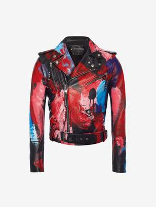 Alexander McQueen Painter's Palette Leather Biker Jacket