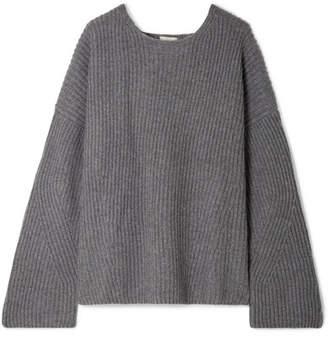 Le Kasha - Seoul Open-back Ribbed Cashmere Sweater - Gray