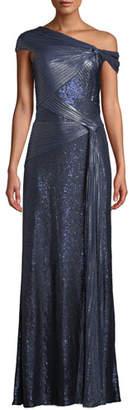 Tadashi Shoji One-Shoulder Metallic Pintuck Gown
