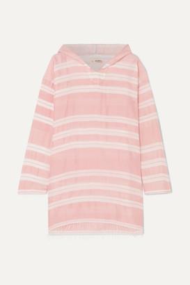 Lemlem Net Sustain Doro Frayed Striped Cotton-blend Gauze Hoodie - Pink
