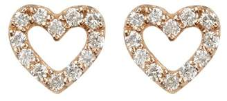Bony Levy 18K Rose Gold Pave Diamond Open Mini Heart Stud Earrings - 0.21 ctw