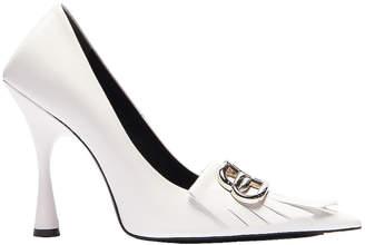 Balenciaga Fringe Knife Pumps in White & Silver | FWRD