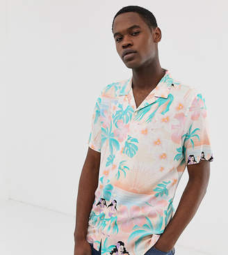 Asos Design DESIGN Tall Festival relaxed hawaiian shirt with revere collar in pink
