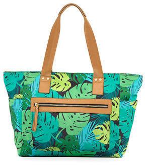 Neiman Marcus Cali Leaf-Print Nylon Tote Bag