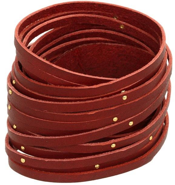 Linea Pelle - Double Wrap With Nailhead Studs (Crimson) - Jewelry