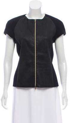 L'Agence Leather-Accented Short Sleeve Top