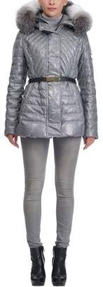 Gorski Apres Ski Quilted Belted Jacket with Fox Trim