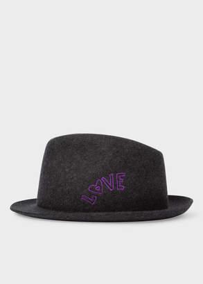 Paul Smith Men's Charcoal Grey 'Love' Embroidery Wool-Felt Hat