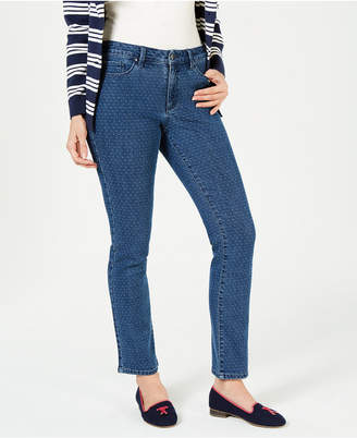 Charter Club Dot-Print Tummy-Control Jeans