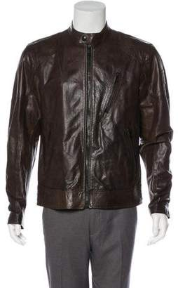 Belstaff Zip-Up Leather Cafe Racer Jacket