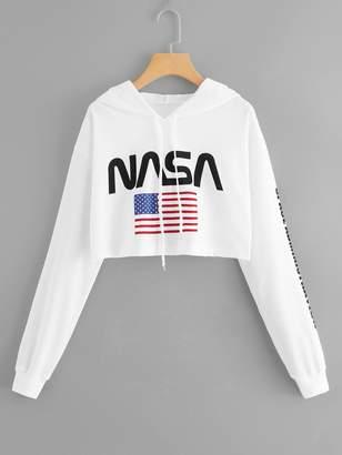 Shein Letter & American Flag Print Drawstring Hoodie Sweatshirt