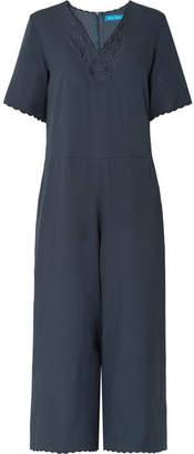 MiH Jeans Eva Crochet-trimmed Satin-crepe Jumpsuit - Navy