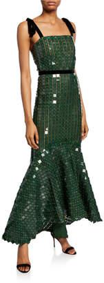 Johanna Ortiz Sequined Tank Ruffle-Hem Dress