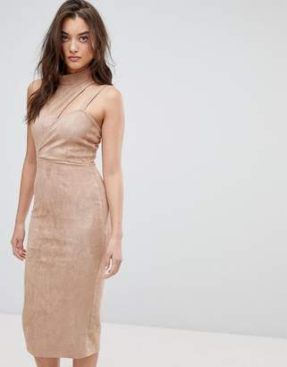 Asos Design Asymmetric Cut Out Suede Midi Dress