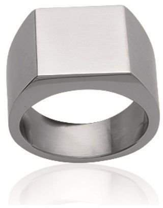 Mary Jane MaryJane Women's Ring Stainless Steel Width 10 Mm Square Signet Free Engraving 1
