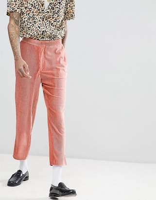 Asos Edition EDITION tapered suit pants in pink velvet plisse fabric with patch pockets