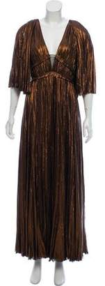 J. Mendel Metallic Pleated Gown