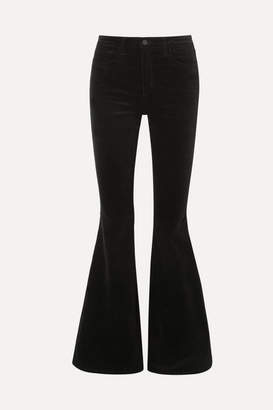 Solana Flared Cotton-blend Velvet Pants - Black