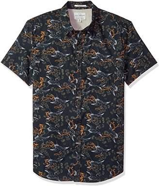 Lucky Brand Men's Casual Short Sleeve Printed Button Down Shirt