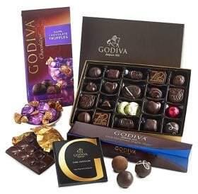 Godiva Chocolatier Dark Chocolate Lover's Tasting Gift Set with 4 Dark Chocolate Assorted Truffles and Gifts