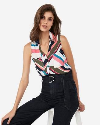 Express Striped Slim Fit Sleeveless Portofino Shirt