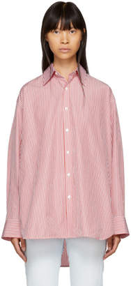 Balenciaga Red and White Striped Swing Collar Shirt