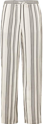 Jil Sander Embroidered Striped Grain De Poudre Silk Wide-leg Pants - White