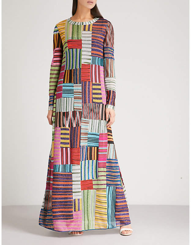 Patchwork lamé woven dress